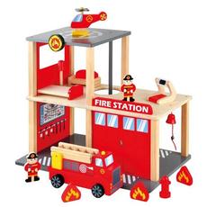 Set Statie Pompieri cu Masinuta si Elicopter Bino, image 1